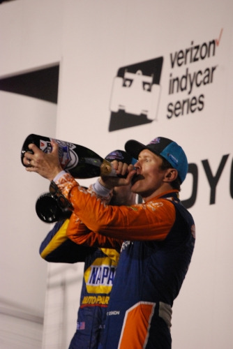 Again not from this current race, but here's Scott drinking champagne after the Gateway race!