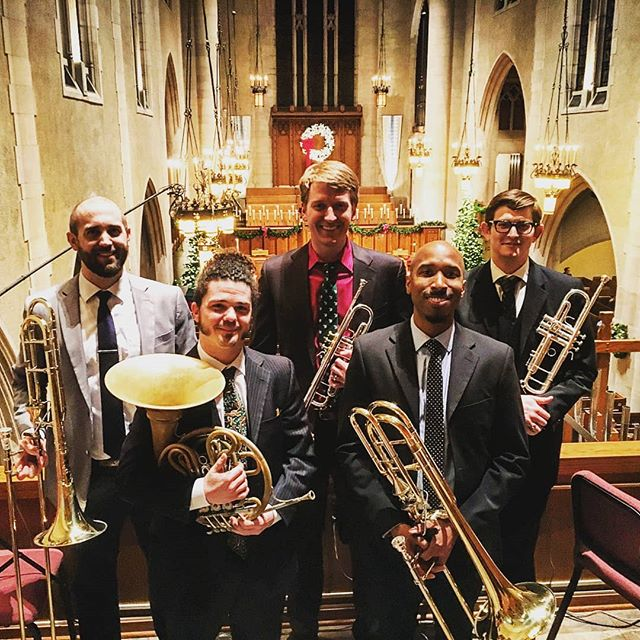 Did you know that @kzoobrasscollective can be more than just a trio? Joined for a church service in December @stegj212 and @nmusch rounded out the quintet at First Presbyterian Church. KBC has also accompanied a full concert choir and a rock band! How can we collaborate with you?