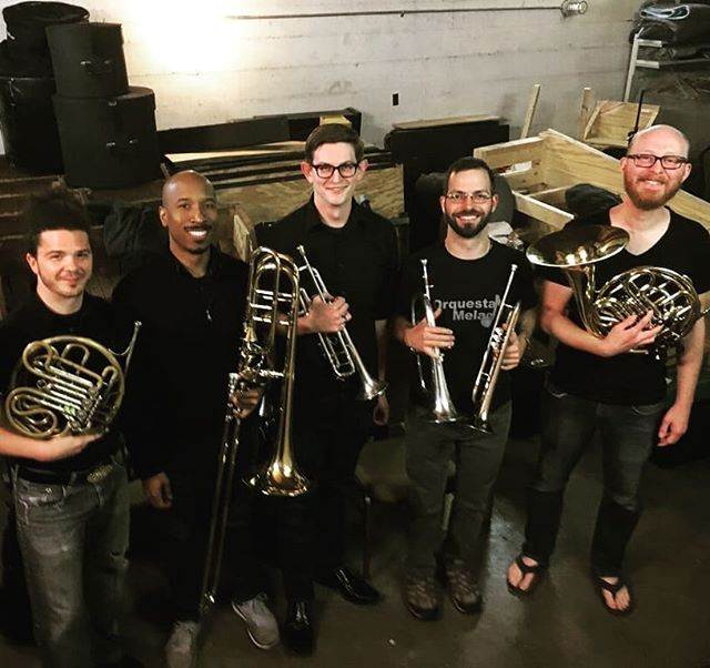 The indomitable brass section for #billyelliotthemusical at @kazoocivic contains the whole KBC (Bob, Craig, and David) as well as #leadtrumpet Matt Matuszek and #frenchhorn Ben Hayword. We couldn't ask for a better section for this show! #lastrow #brasssection #solidarity #musicaltheatre #pitlife