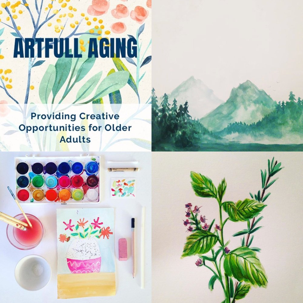 Paintings created by Artfull Aging participants.