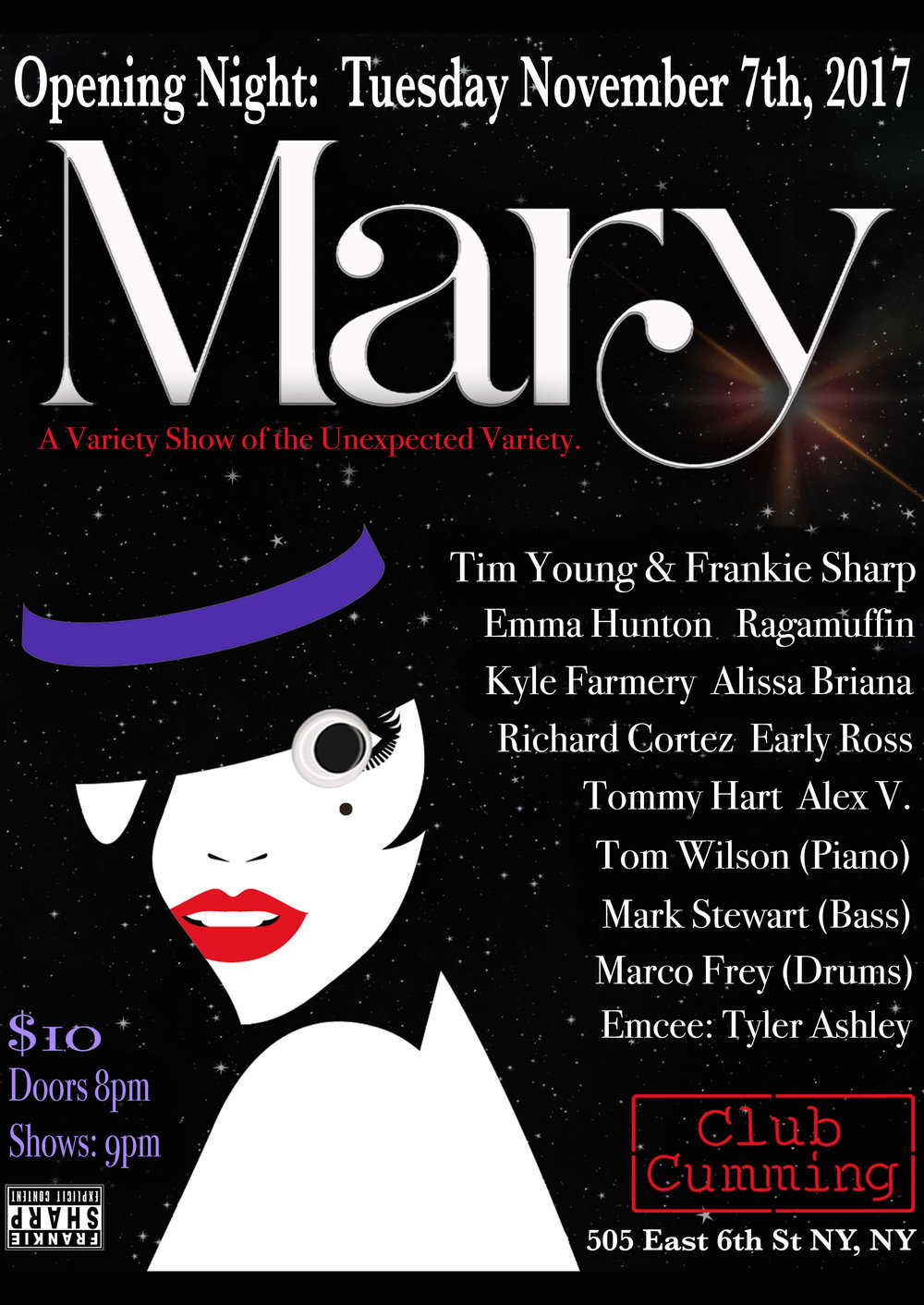 Mary at Club Cumming (Live Cabaret) - Co-Director and PerformerCurrently running every Tuesday night, 9PM at Club Cumming in NYC