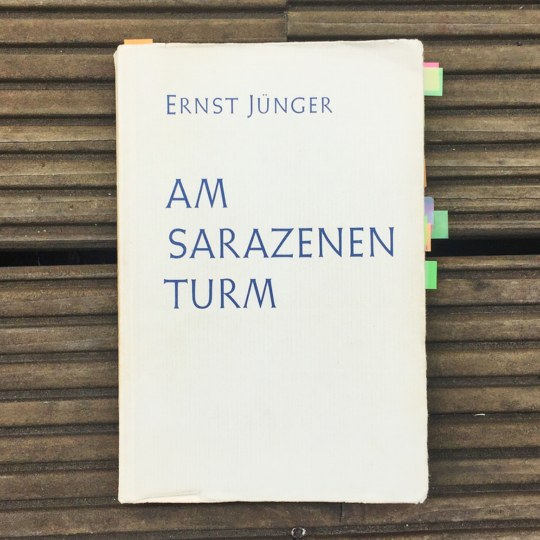 Ernst Jünger,   Am  Sarazenenturm     (Frankfurt am Main: Vittorio Klostermann, 1955)    Buch der Woche vom 20.05.2018