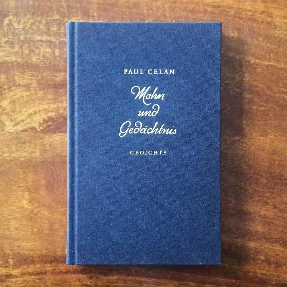 Paul Celan,  Mohn und Gedächtnis  (München: Deutsche Verlags-Anstalt, 1952)   Buch der Woche vom  10.06.2018