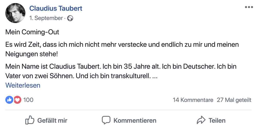 Claudius Taubert Coming-out