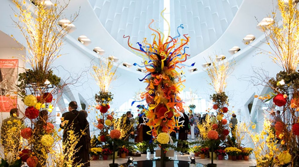 Art in Bloom exhibit in Windhover Hall - The Milwaukee Art Museum