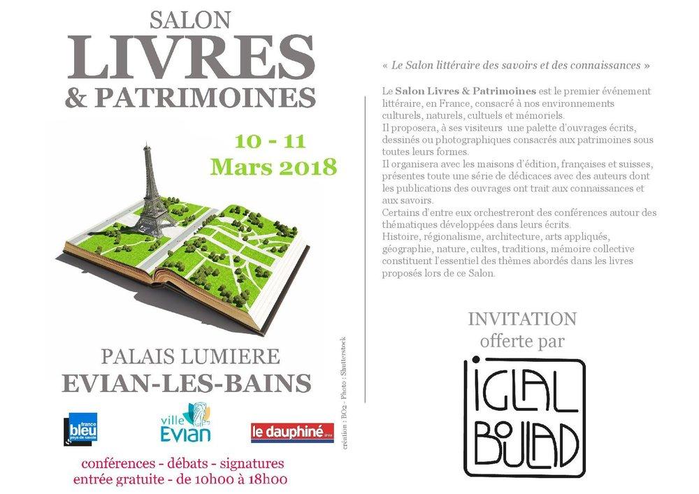 Salon Livres & Patrimoine - Evian les Bains- FRANCE10 & 11 mars 2018Conférence