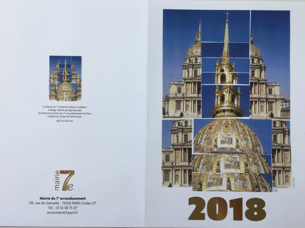 Carte vœux mairie Paris 7collage 'Dôme Invalides' - décembre 2017