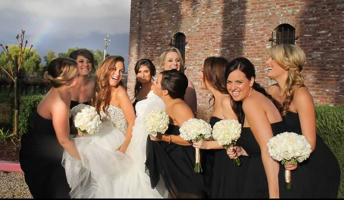 Bridal party white hydrangea and roses