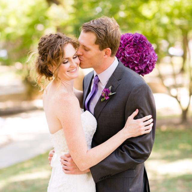 Bridal bouquet purple hydrangea