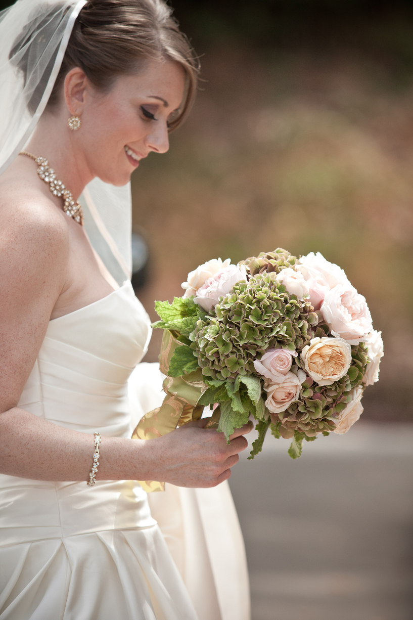 San Francisco wedding at the Green Room. Bouquet featuring English Roses and hydrangea hand tied.