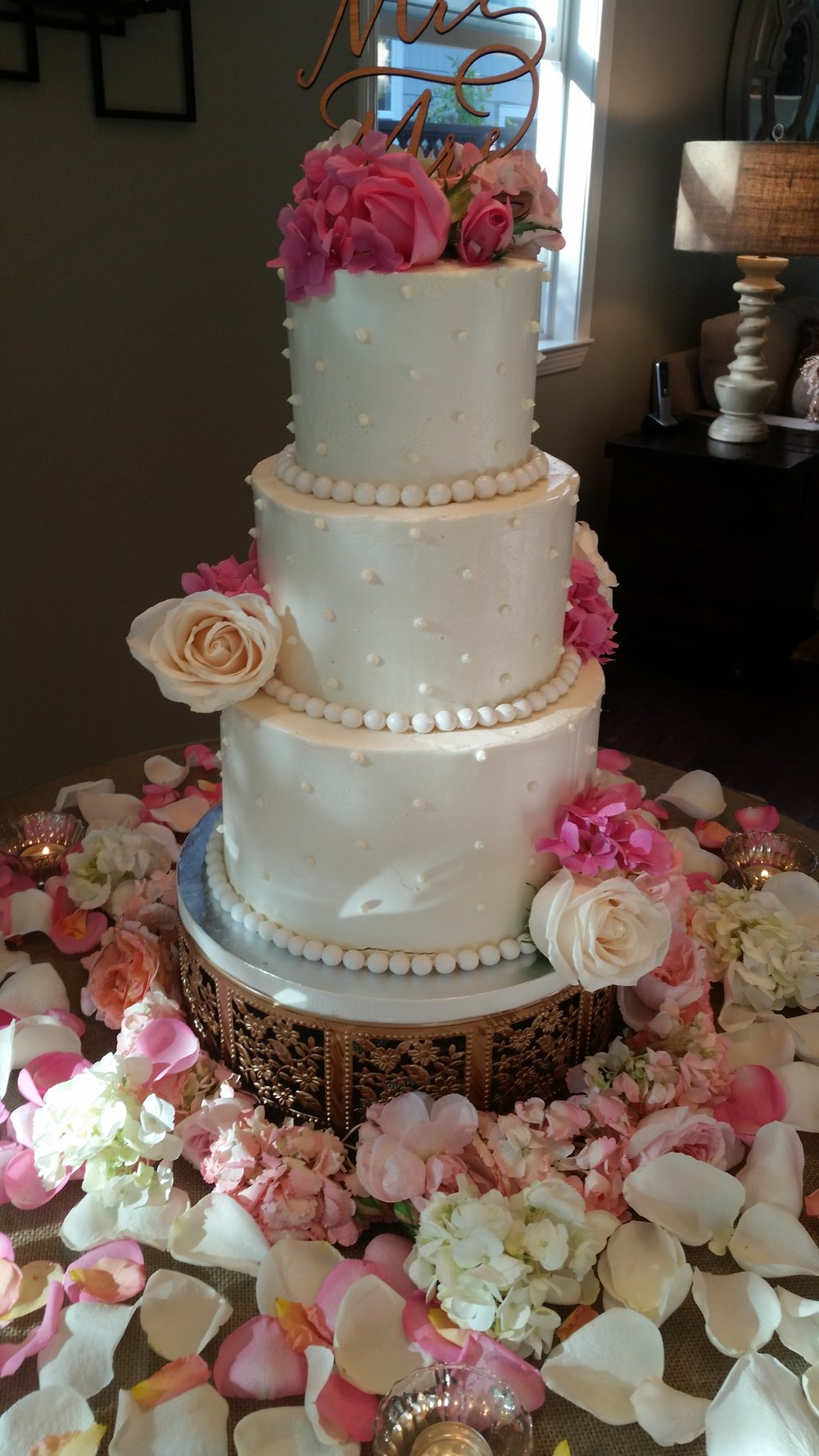 Rose Petal wedding cake Marin County