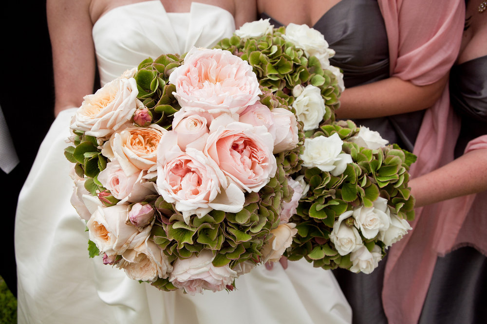 San Francisco bridal bouquet featuring blush English roses and green hydrangea,
