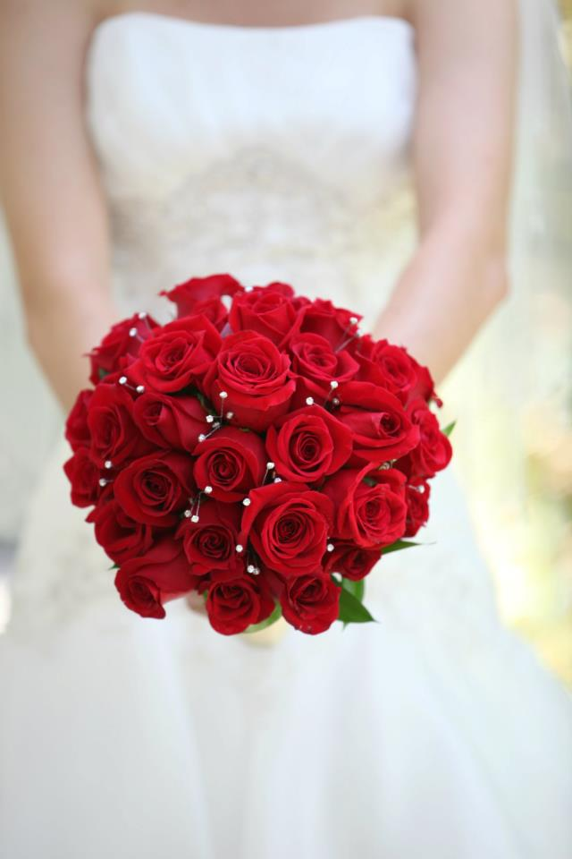 Country chic meets romantic red roses with rhinestone crystals in Sonoma County wedding, Red rose bridal bouquet
