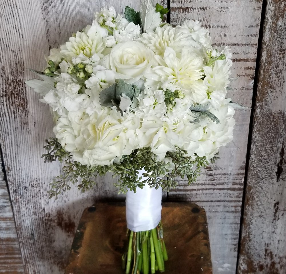 Pure white bridal bouquet, flowers include dahlia, roses, hydrangea, stock, dusty miller and seeded eucalyptus.