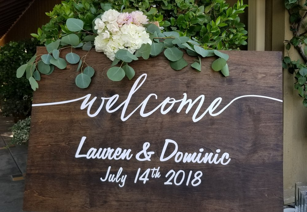 Welcome sign flower decor.