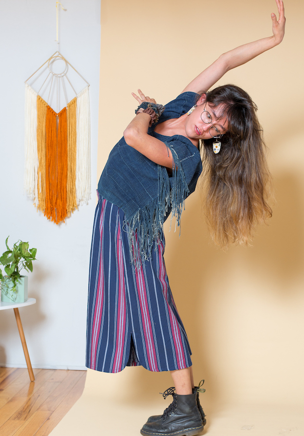 Indigo Tassel Box Top by  Mira Blackman , Sonia Culotte Pants by  Conrado , Earrings by  Witt & Lore , Wall Hanging by Its The Boonies.