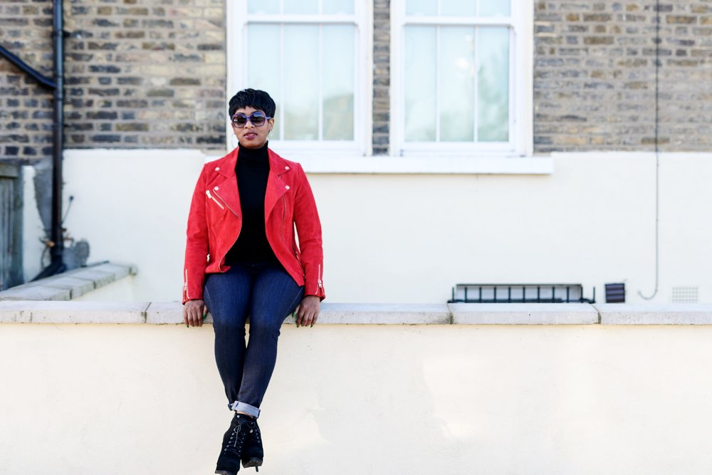 RED OR DEAD: SUEDE BIKER JACKET