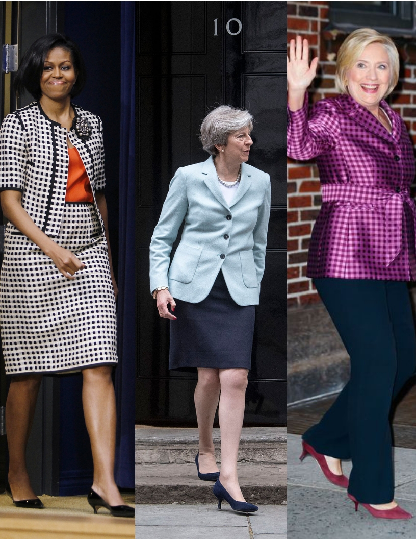 Michelle Obama, Theresa May & Hilary Clinton wearing the infamous Kitten Heel
