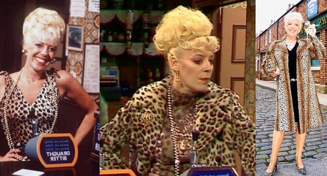 Bet Lynch rocking her trademark leopard print outfits