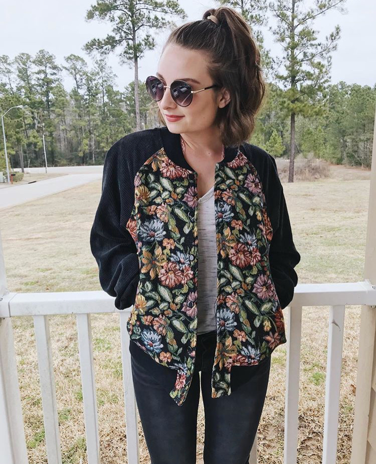 this bomber was $7 (originally over $100) from Pacsun, my tee was $3 from Target, my sunglasses were $5 from Target as well and my jeans were thrifted for $2.