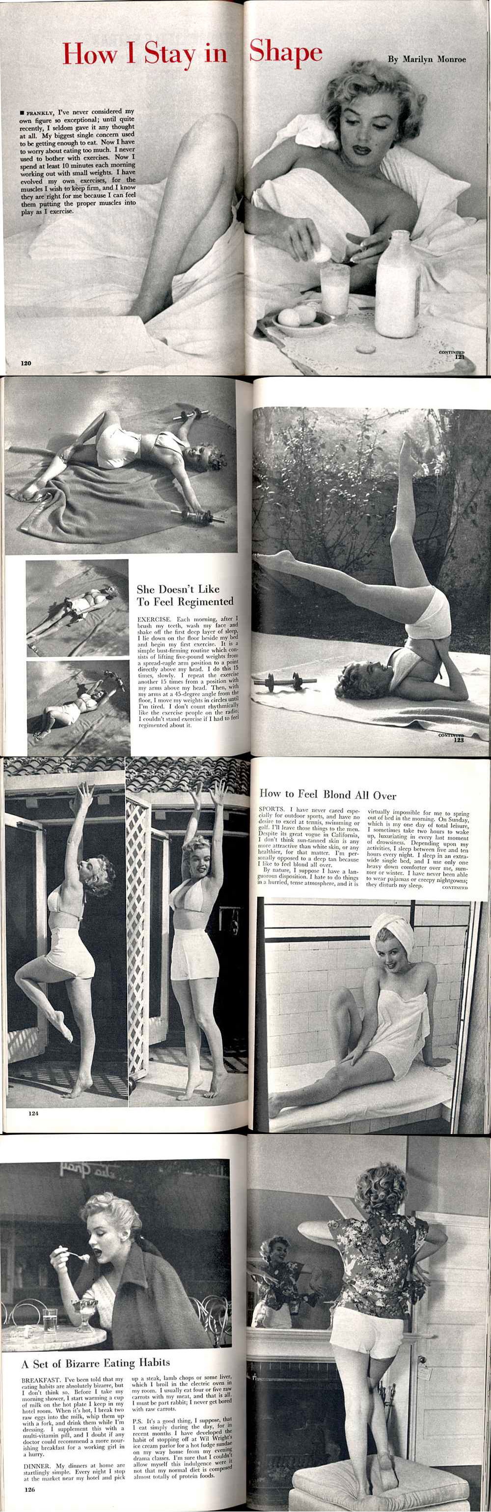 Source :- marilyn monroe how i stay in shape article