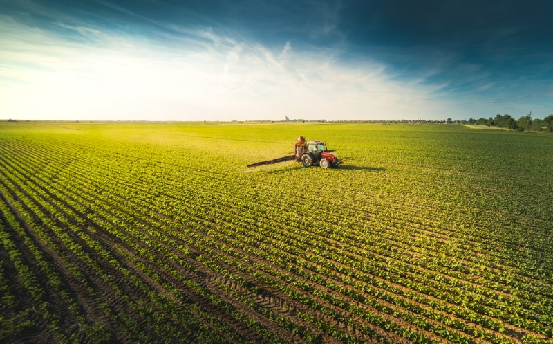 Tractor spraying pesticides on soybean field