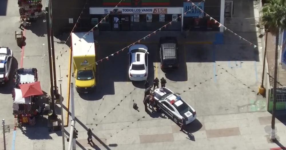 First responders arrive on scene to arrest a burglar.