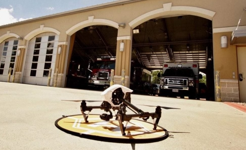 A Cape-equipped DJI quadcopter out front of the Ensenada, Mexico fire department.