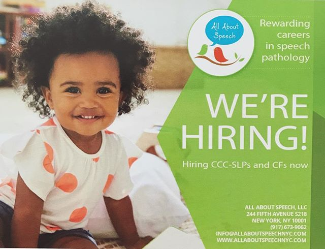 We are in immediate need of an SLP for a part-time caseload at the following schools: 127 East 22nd Street, NY/333 EAST 4th Street, NY 🏫😊. If you can help please email us your resume at info@allaboutspeechnyc.com. Must have NYC license and TSSLD. . . . #allaboutspeechnyc #slpjob #slpnyc #speechtherapy  #slpeeps #speechpathology #cf #cfy #slp #speechpathology #cccslp #job