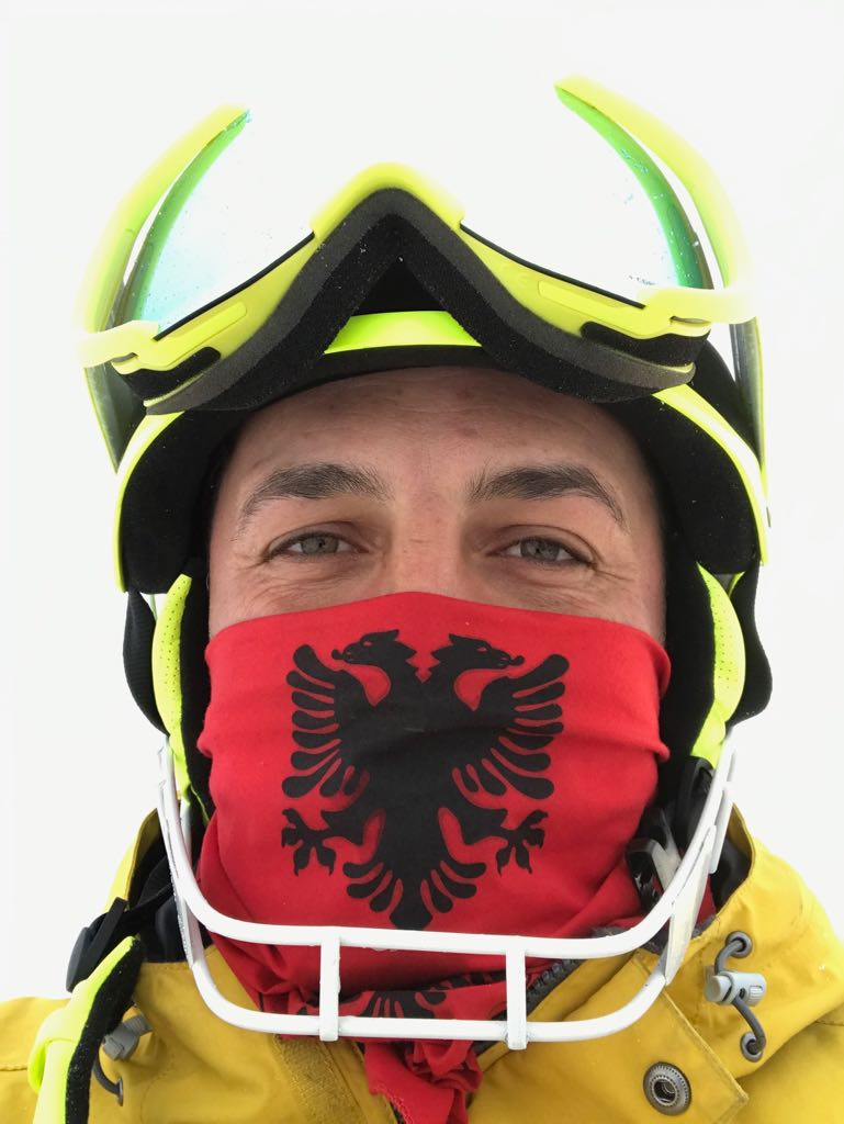 Besnik with the Albanian flag on his buff. Albanians are the largest ethnic group in Kosovo, commonly called Kosovar Albanians…