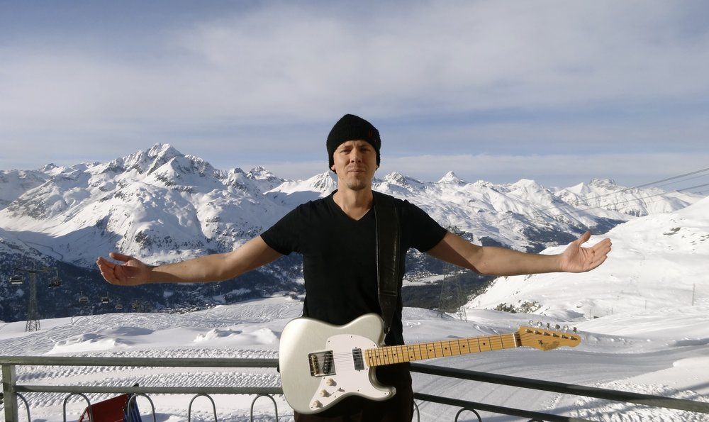 St Moritz - warming up before a gig on top of the mountains in 2012. It gets hot up there in the Alps!