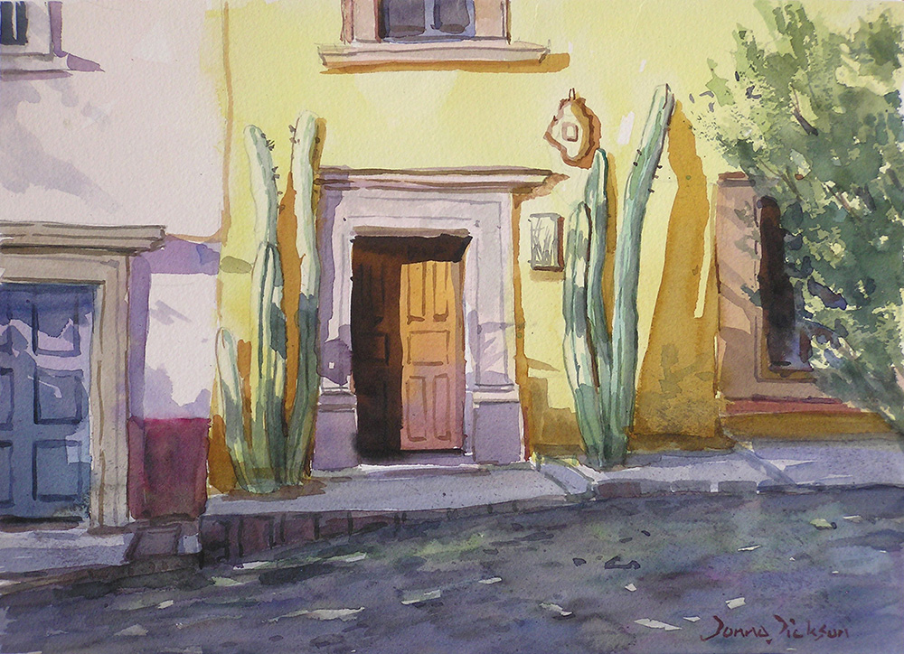 AFTERNOON LIGHT WITH CACTUS  10.5x14.5 watercolor, Donna Dickson, $495 .jpg