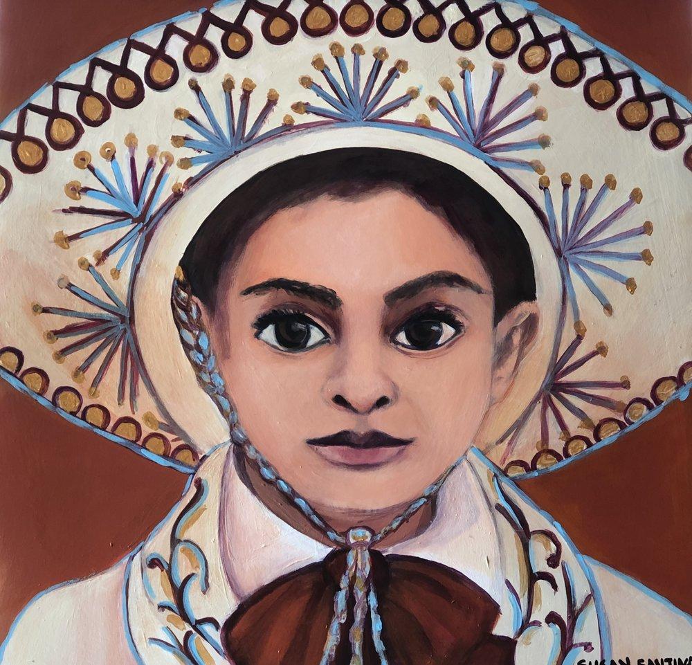 Little Mariachi15 x 15 Acrylic on Wood Panel Susan Santiago.jpg
