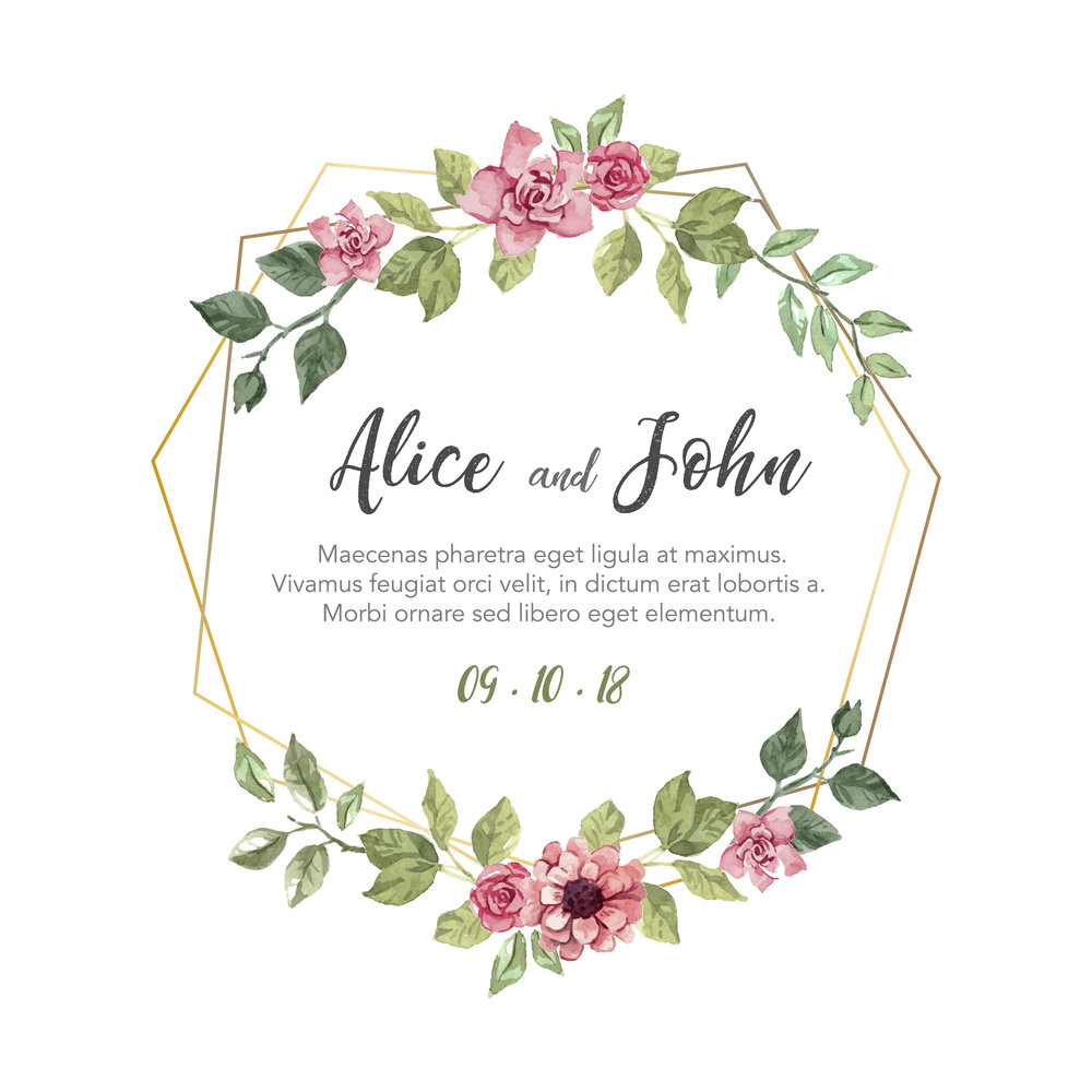 Geometric Wreath   Bold block dates paired with white ink cursive names on your choice of 1.5mm premium woods. Minimal and contemporary, this design is flexible enough to accomodate invites that require additional text and suits almost any event styling.