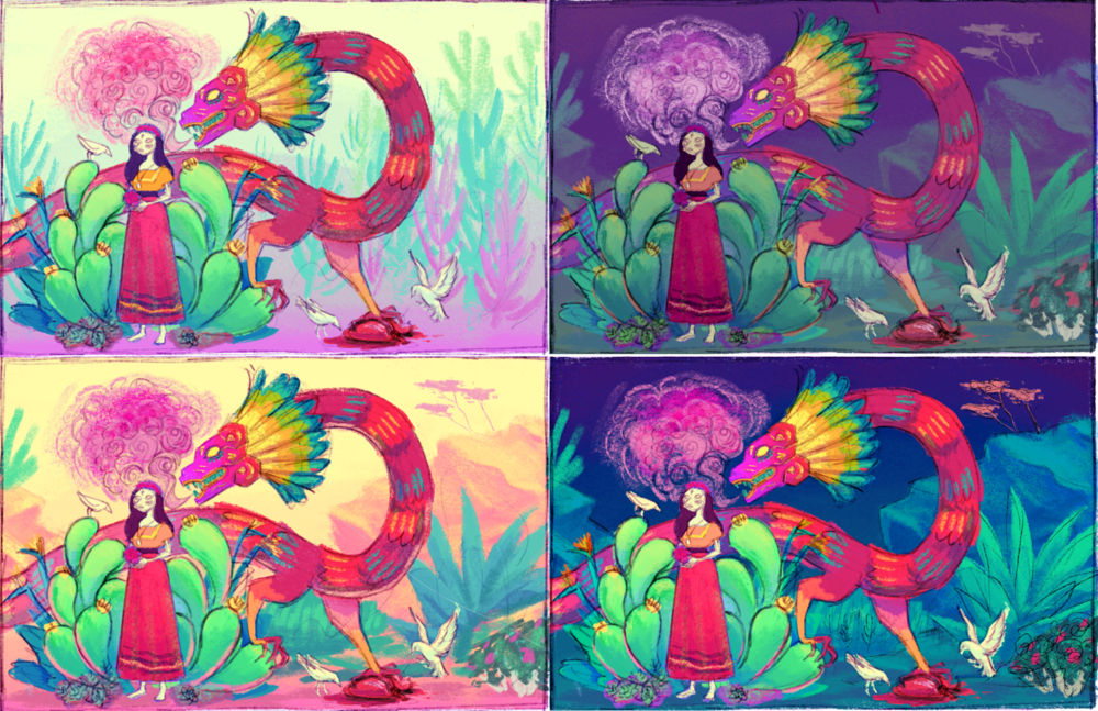 Color tests and background design