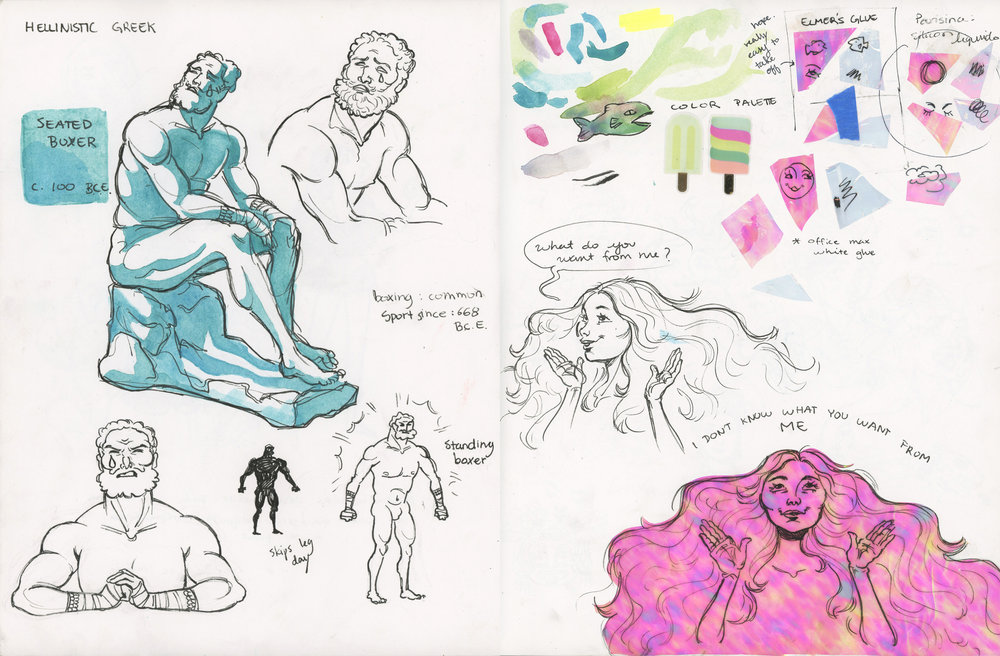Sketchbook Page  Pen, watercolor, and translucent holographic paper