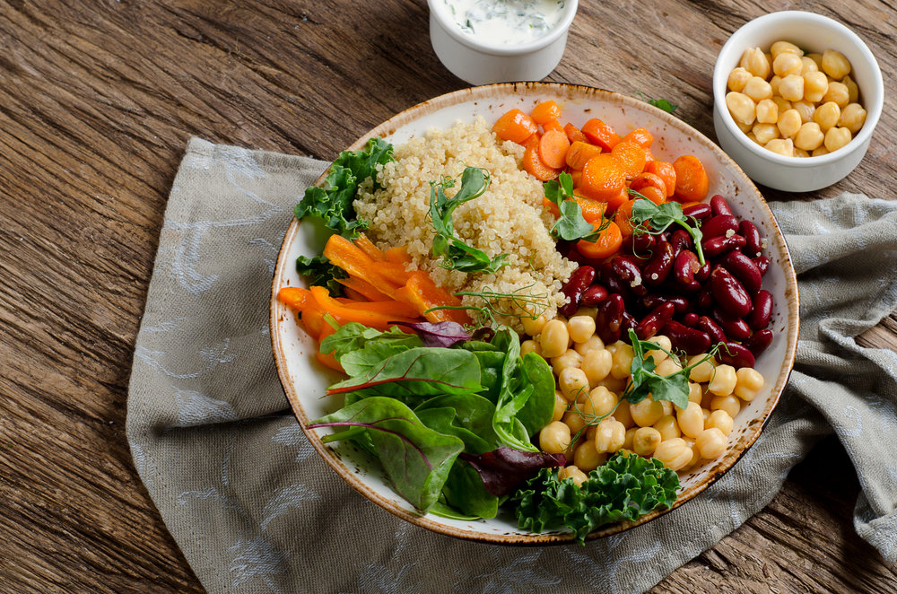 Vegetarian Buddha bowl with quinoa and chickpea. Vegetarian and vegan food concept.jpg