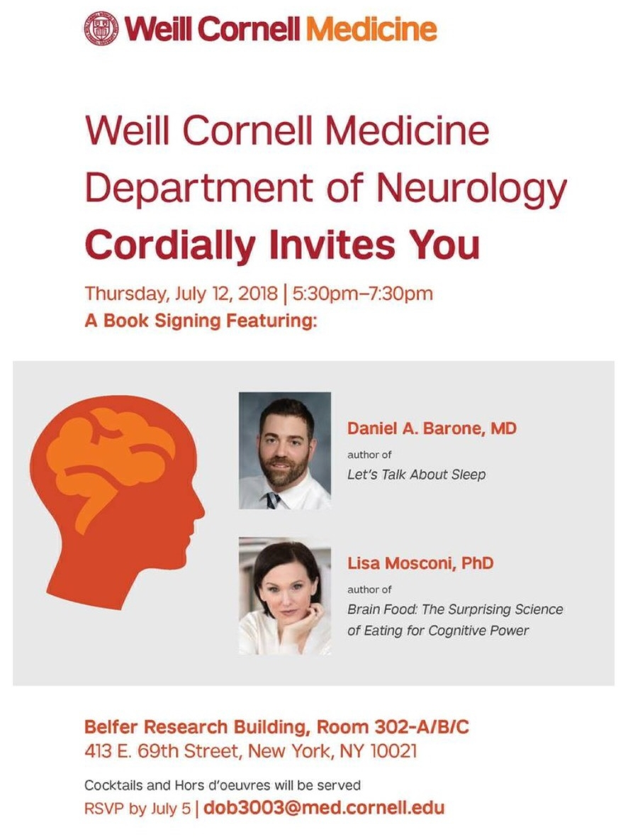 Book Signing at Weill Cornell Medical College - So delighted that my institution, Weill Cornell Medical College, organized a book signing for us! Join me and Dr. Barone for a fun cocktail reception:Where: Weill Cornell MedicineWhen: July 12, 2018, 5:30-7:30pmRSVP: dob3003@med.cornell.edu