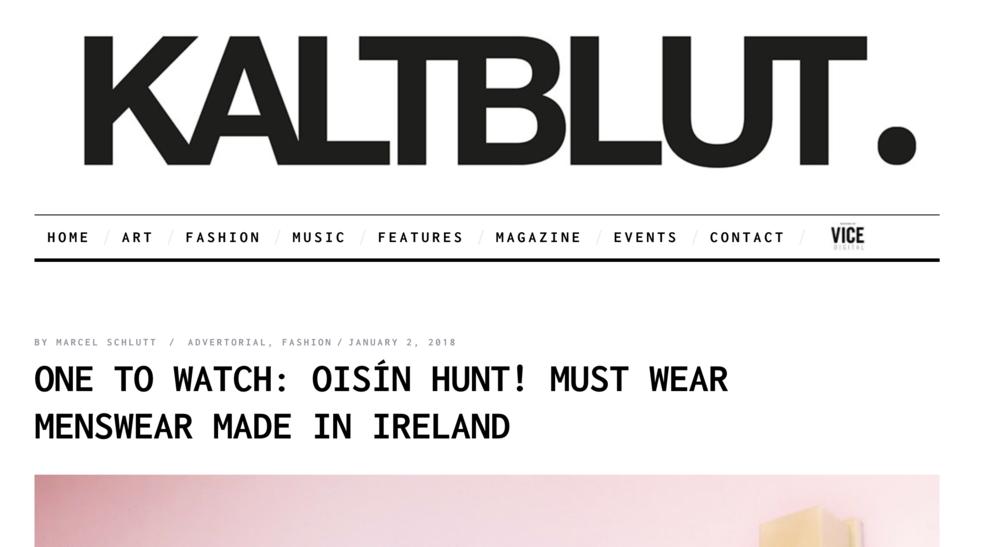 Oisín Hunt Autumn / Winter '18 featured in  Kaltblut Magazine