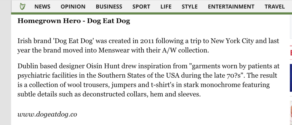 Oisín Hunt featured in the Irish Independent