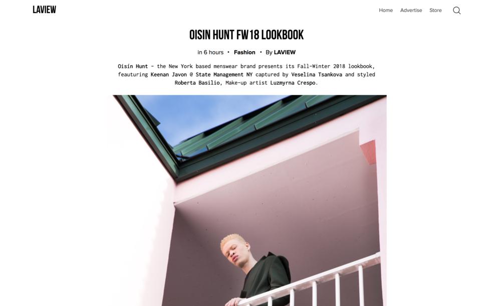 Oisín Hunt Autumn / Winter '18 featured in LAVIEW Magazine