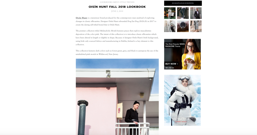 Oisín Hunt Autumn / Winter '18 featured in  High Fashion Living