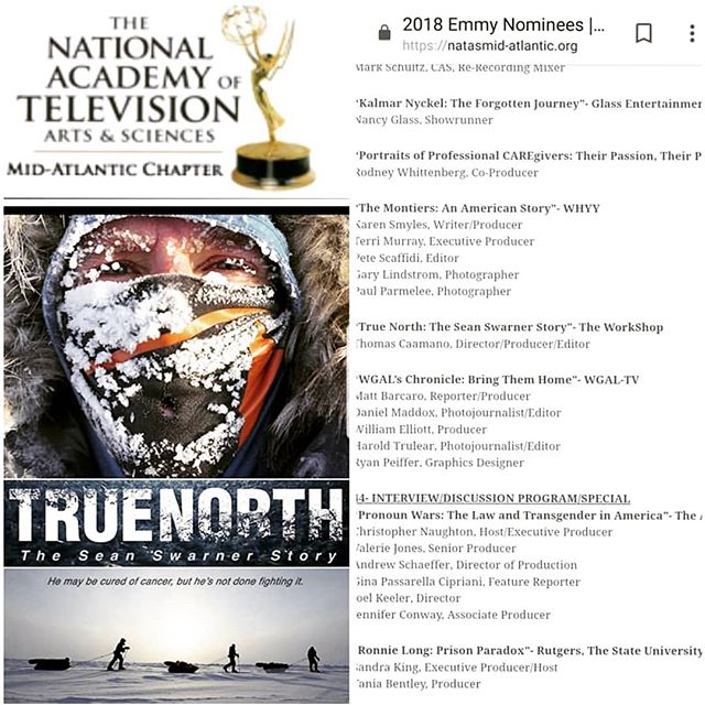 I'm pleased to announce freezing at the North Pole paid off! True North has been Emmy Nominated!!!!! Congrats to an incredible team and especially @seanswarner