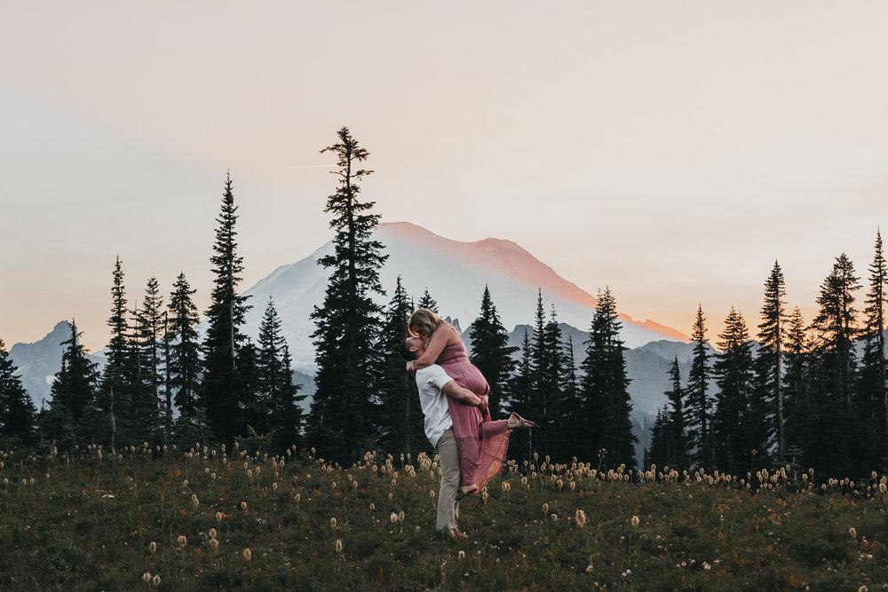 Mount Rainier Engagement Session from a Washington Wedding Photographer