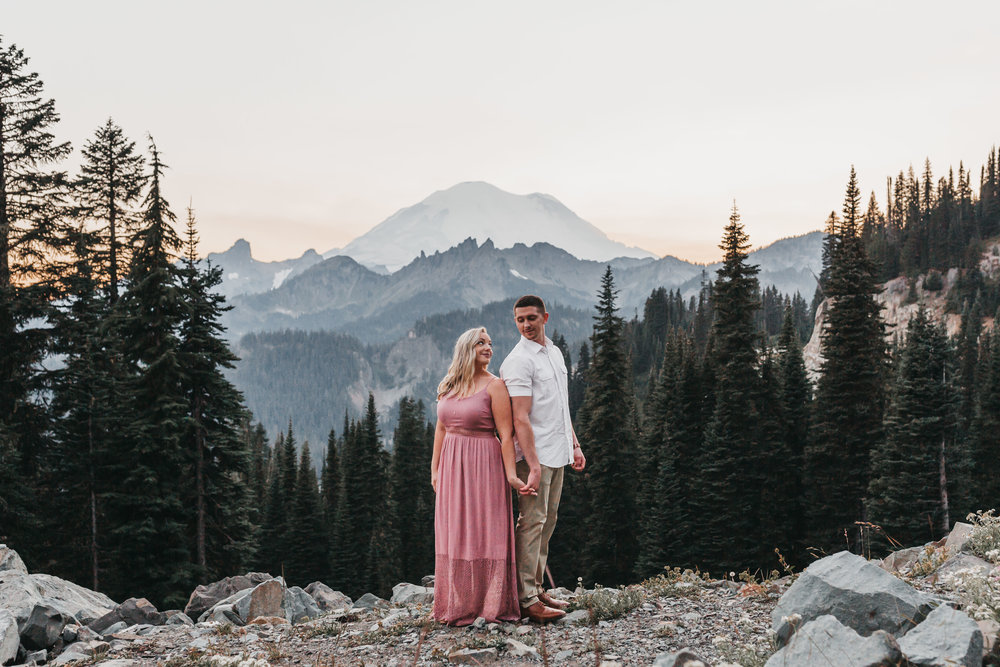 Mount Rainier National Park Adventure Engagement Session. Between the Pine Adventure Wedding and Elopement Photography. Seattle, WA.