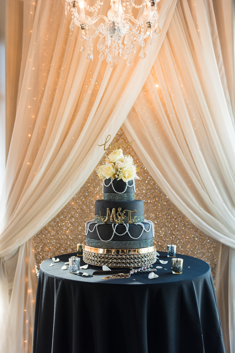 Great Gatsby Wedding Cake, Black Wedding Cake