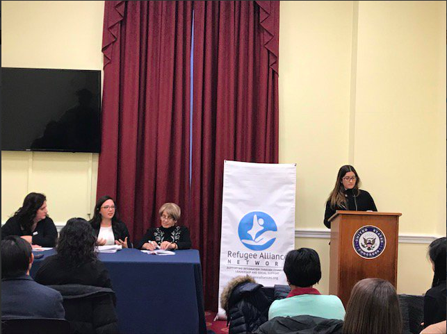 Katie Sgarro, AsylumConnect Co-Founder & President (far left), moderating the panel. Photo Credit: Refugee Alliance Network.
