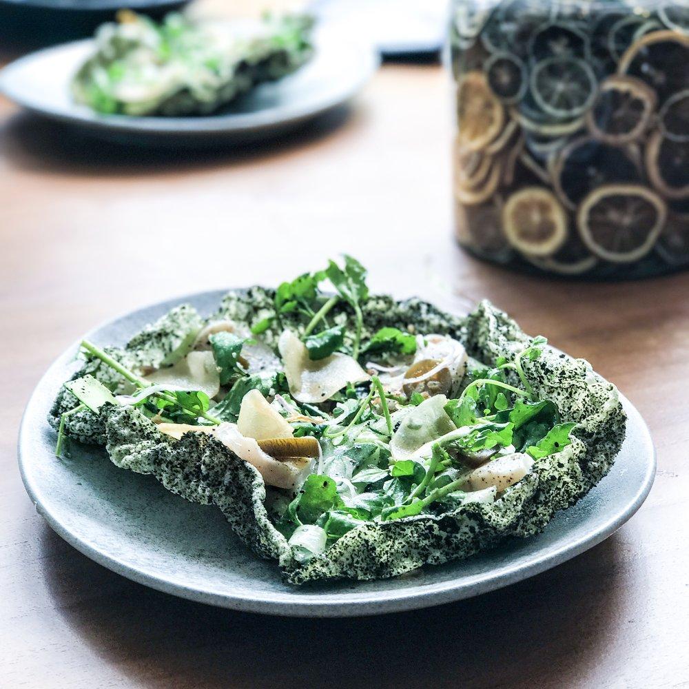 King Fish Sashimi, pickled daikon, avocado purée, nori cracker