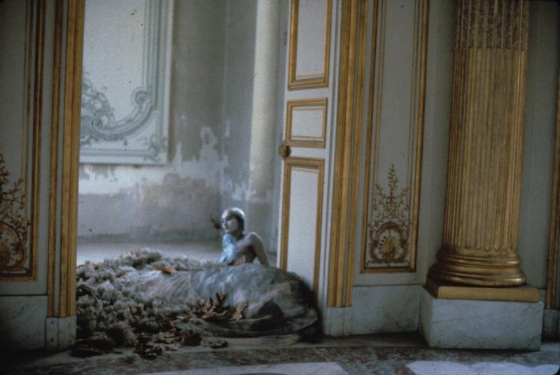 Deborah Turbeville –  Autumn Leaves inside the Pavillon Français , Unseen Versailles, 1980.