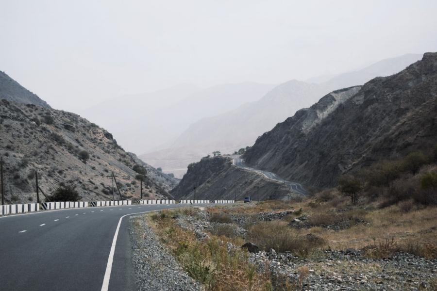 The road leading up to Panjakent, Tajikistan